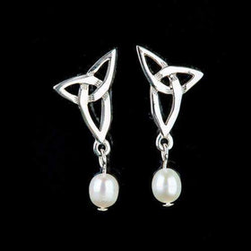 Shetland Sterling Silver & Pearl Celtic Earrings - HE102-Ogham Jewellery