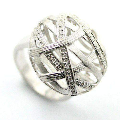 Silver And Diamond Designer Ring-Ogham Jewellery