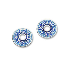 Silver and Enamel Celtic Stud Earrings EE552-Ogham Jewellery