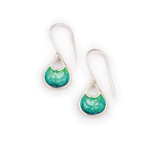 Silver and Enamel Water Drop Earrings EE419-Ogham Jewellery