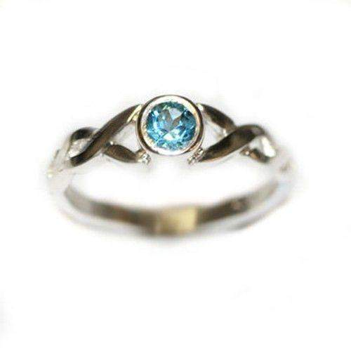 Celtic Twist Sterling Silver & Blue Topaz Ring - SR175