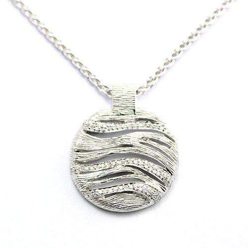Silver & Diamond Disc Pendant-Ogham Jewellery