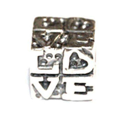 Silver Love Cube Bead-Ogham Jewellery