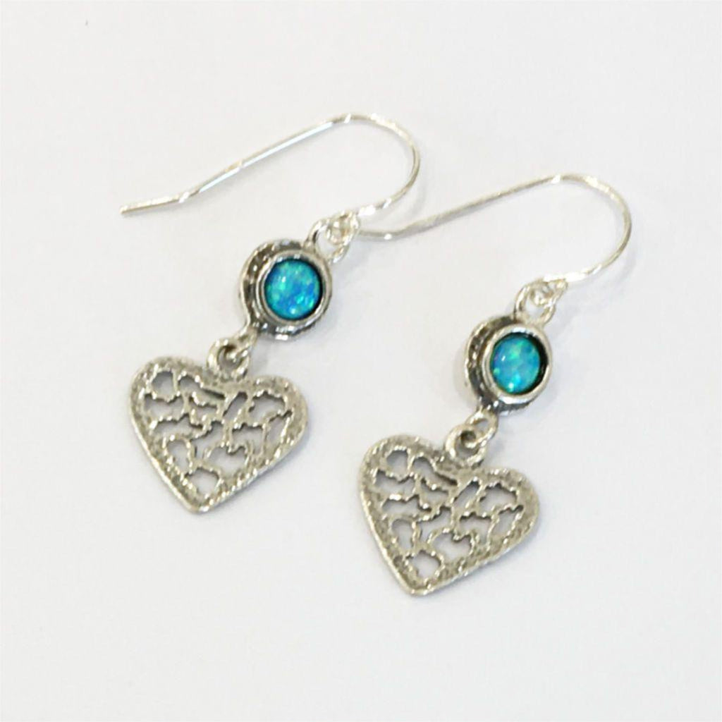 Silver & Opaline Heart Drop Earrings E7228-1