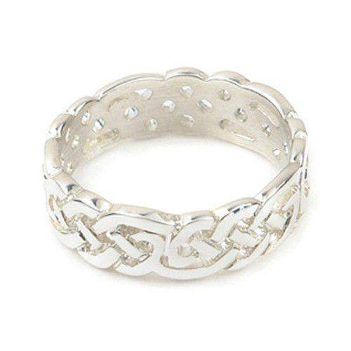 Silver or Gold Celtic Knot Ring - Ortak R129 - 6mm Sizes J-Z-Ogham Jewellery