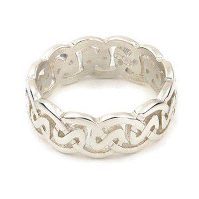 Silver or Gold Celtic Knot Ring - Ortak XR142 - 8mm Sizes Q-Z-Ogham Jewellery