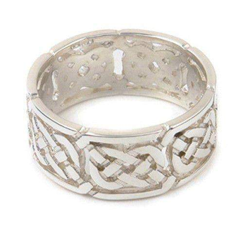 Silver or Gold Celtic Ring - XXR132 12mm Sizes Z1-Z5-Ogham Jewellery