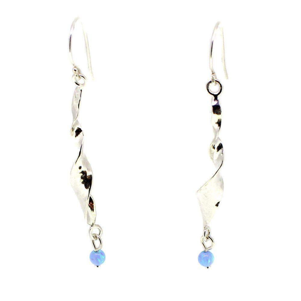 Silver & Pearl Spiral Earrings - E6139-Ogham Jewellery
