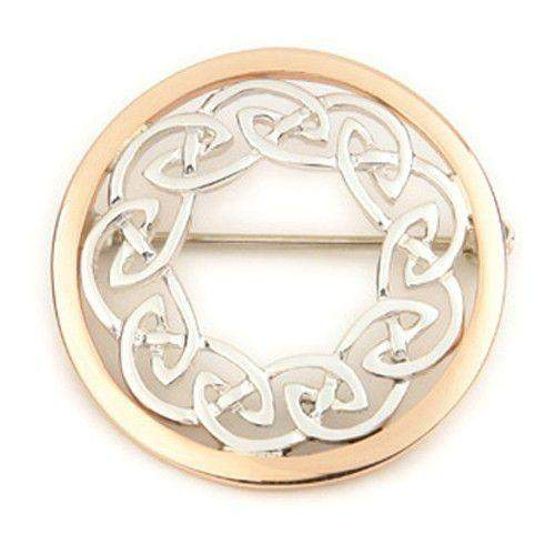 Silver & Rose Gold Celtic Brooch - B497 ORT-Ogham Jewellery