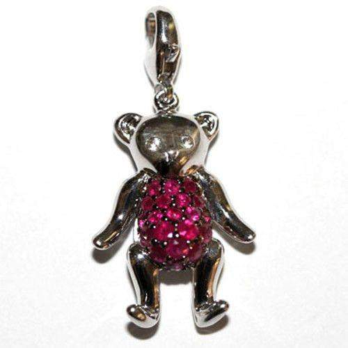 Silver & Ruby Teddy Bear Charm-Ogham Jewellery