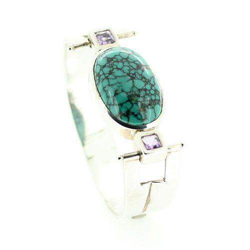 Silver & Turquoise Bangle-Ogham Jewellery
