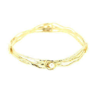 Silver with Vermeil Gold Plate Bangle -GPL6-Ogham Jewellery