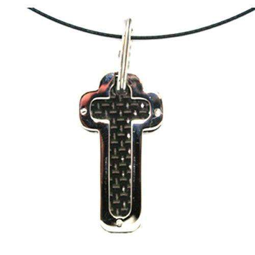 Stainless Steel and Carbon Fibre Cross sp01091-Ogham Jewellery