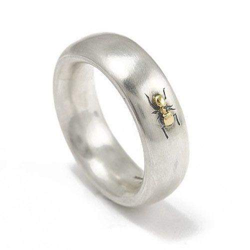 Sterling Silver & 18ct Ant Ring-Ogham Jewellery