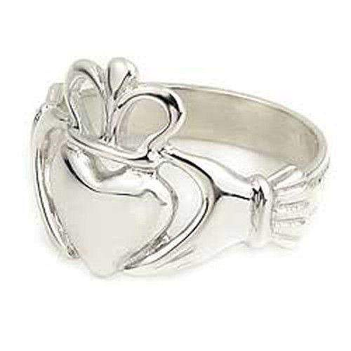 Sterling Silver, 9ct White or Yellow Gold Claddagh Ring - R97-Ogham Jewellery