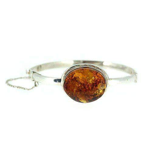 Sterling Silver & Amber Bangle -AMB5-Ogham Jewellery
