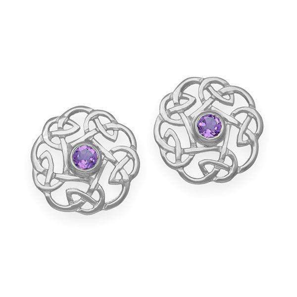 Sterling Silver & Amethyst Celtic Earrings - CE17-Ogham Jewellery