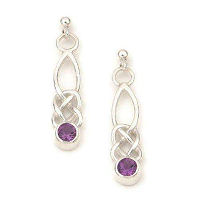 Sterling Silver Amethyst & Celtic Earrings - CE273-Ogham Jewellery