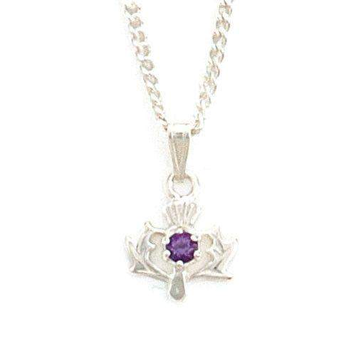 Sterling Silver & Amethyst Thistle Pendant- CP9