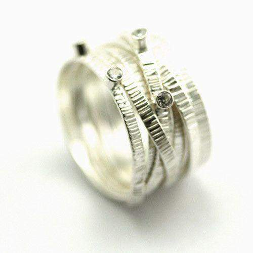 Sterling Silver and CZ Textured Ring RE176-Ogham Jewellery