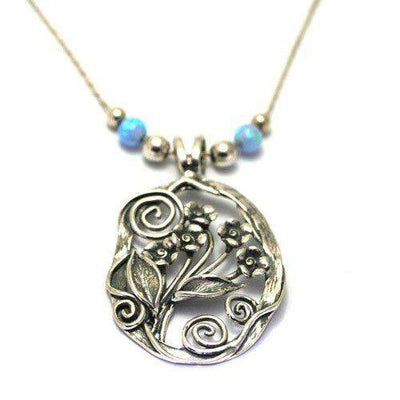 Sterling Silver and Opaline Pendant - N673-1-Ogham Jewellery