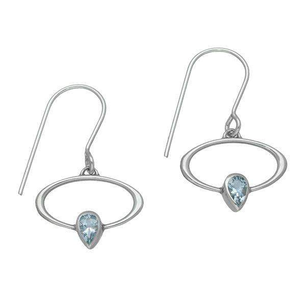 Sterling Silver & Aquamarine Earrings CE355