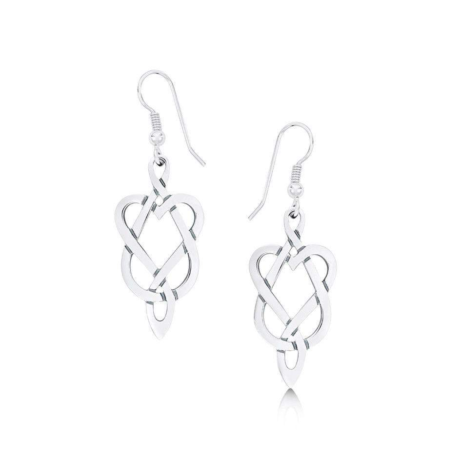 Sterling Silver Celtic Drop Earrings - SF E14-Ogham Jewellery