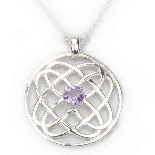 Sterling Silver Celtic Pendant with Amethyst -CP325-Ogham Jewellery