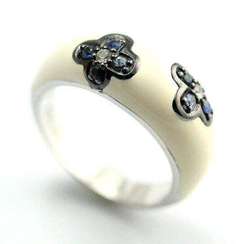Sterling Silver, Diamond, Sapphire and Enamel Ring IRS8895S