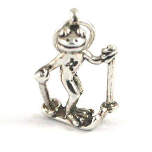Sterling Silver Frog on Skis Charm-Ogham Jewellery