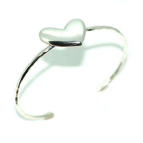 Sterling Silver Heart Bangle-BR976-Ogham Jewellery