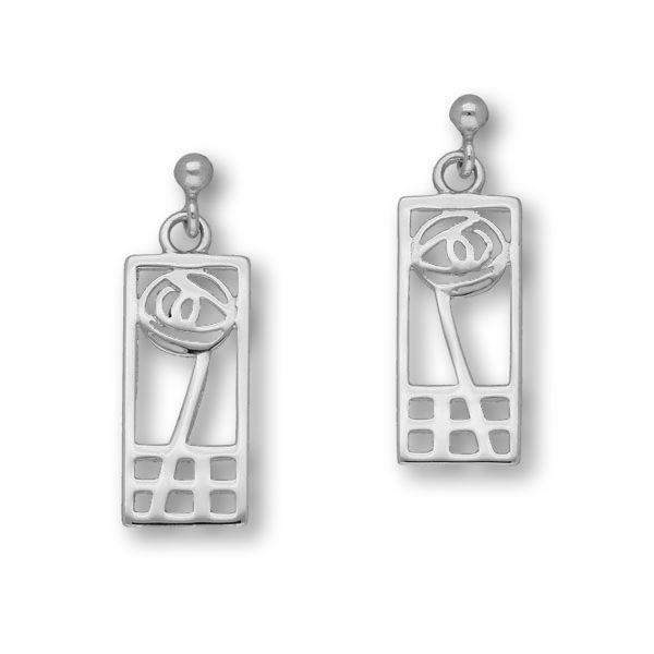 Sterling Silver Mackintosh Earrings - E625 ORT-Ogham Jewellery