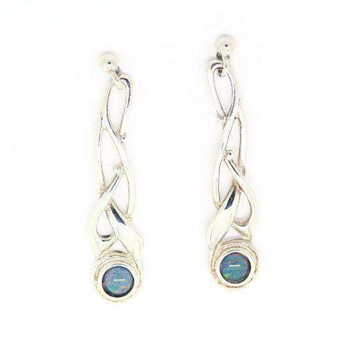Sterling Silver & Opal Celtic Earrings - SE113-Ogham Jewellery