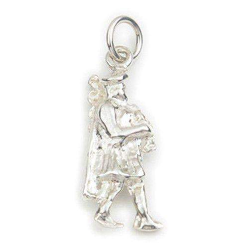 Sterling Silver or 9ct Gold Bagpiper Charm - C18 ORT-Ogham Jewellery