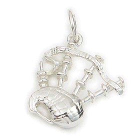 Sterling Silver or 9ct Gold Bagpipes Charm - C19-Ogham Jewellery