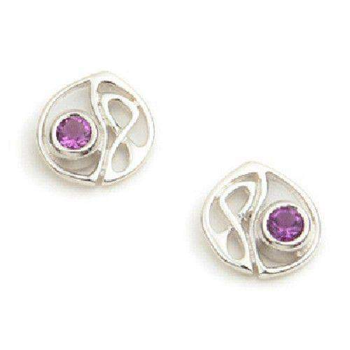 Sterling Silver or 9ct Gold Celtic Earrings - Amethyst or Peridot - CE143-Ogham Jewellery