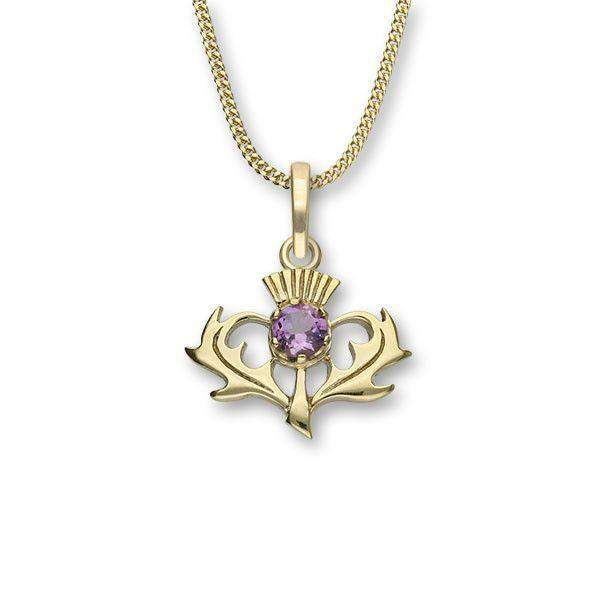 Sterling Silver or 9ct Gold Thistle Pendant, with Amethyst, Citrine or Smoky Quartz - CP7 ORT