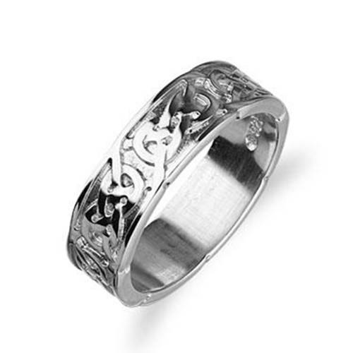 Sterling Silver or Gold Celtic Ring - Ortak R126 - 6mm-Ogham Jewellery