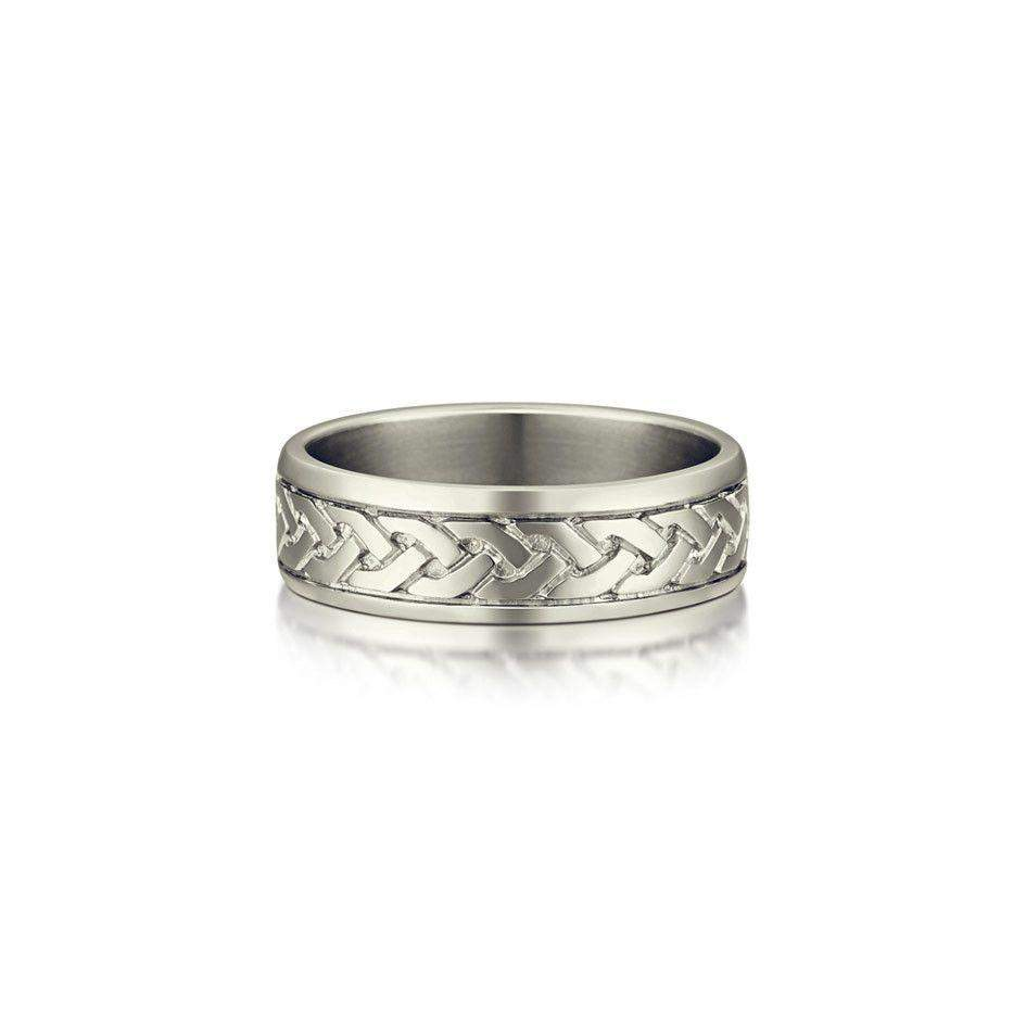 Sterling Silver or Gold Celtic Wedding Ring - R29 Size R-Z-Ogham Jewellery