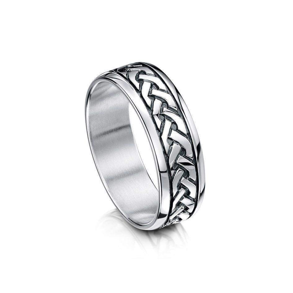 Sterling Silver or Gold Celtic Wedding Ring - R29 Size R-Z