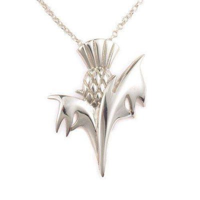 Sterling Silver Thistle Pendant - P683 ORT-Ogham Jewellery