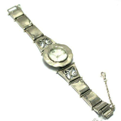 Sterling Silver Watch with Scroll Details W2936