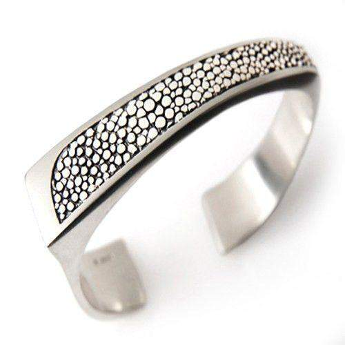 Stingray Mens Silver Cuff Bangle-Ogham Jewellery