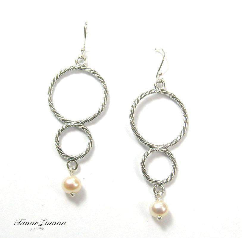 Double Circle Silver And Pearl Earrings -E4908-1