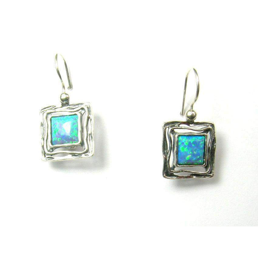 Square Designer Silver and Opaline Earrings - E5645