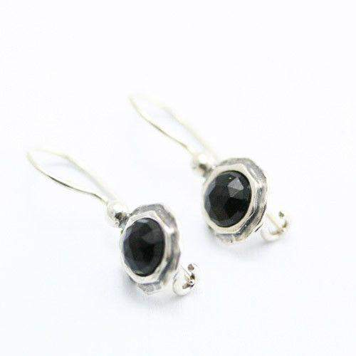 Tamir Zuman Silver And Onyx Earrings - E2543-Ogham Jewellery