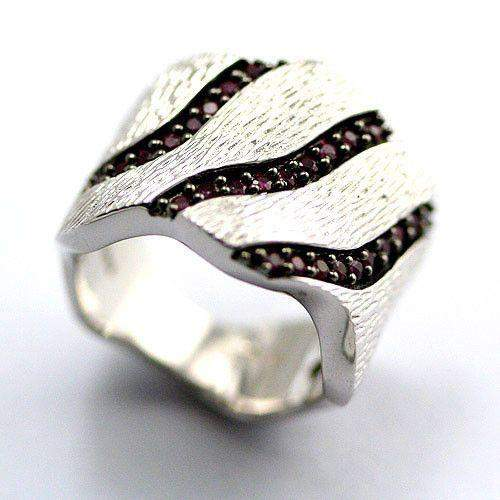Textured Silver and Ruby Ring-Ogham Jewellery