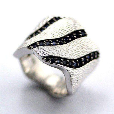 Textured Silver and Sapphire Ring-Ogham Jewellery
