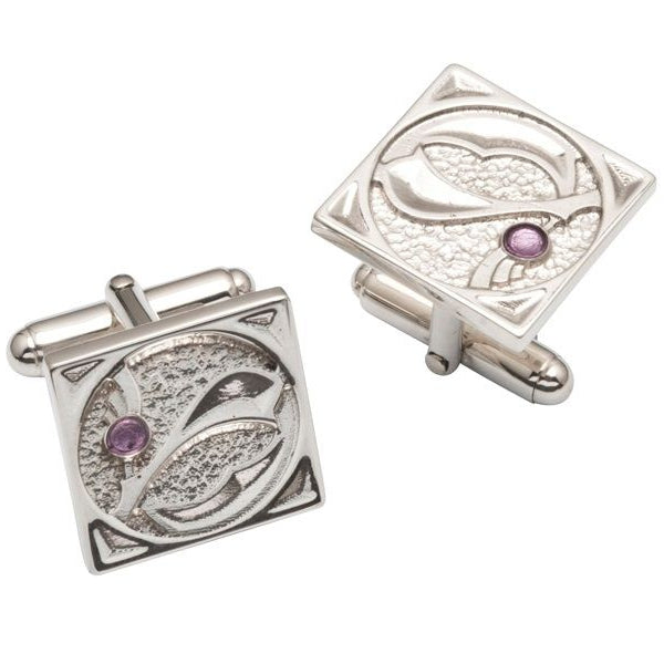 Silver Canaigh Contemporary Thistle Cufflinks - TH043CL