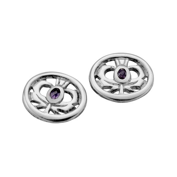 Kilry Scottish Thistle Oval Earrings - TH025